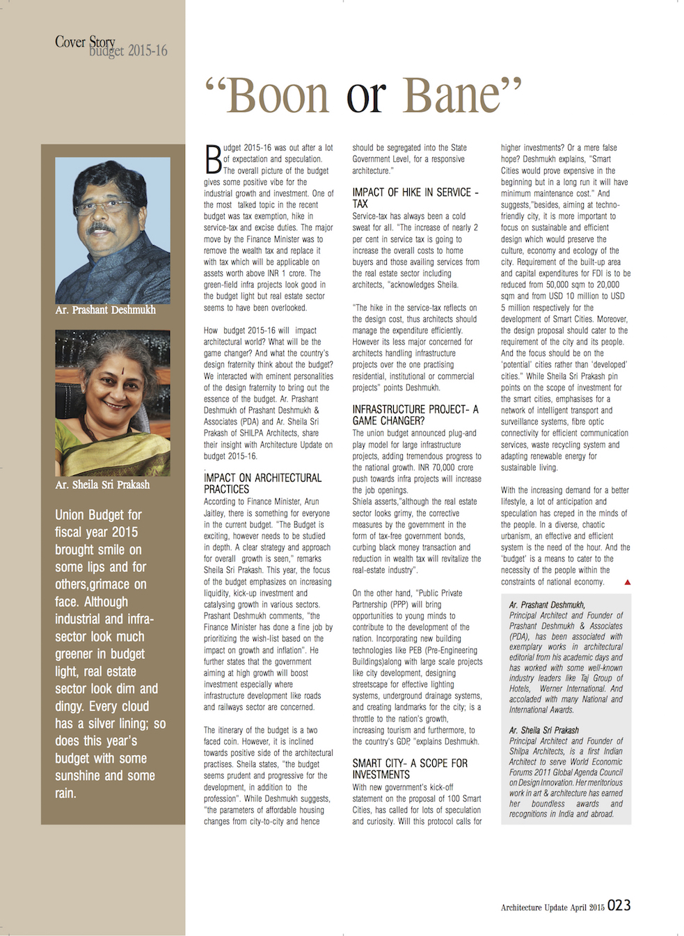 Architecture Update Magazine with Sheila Sri Prakash