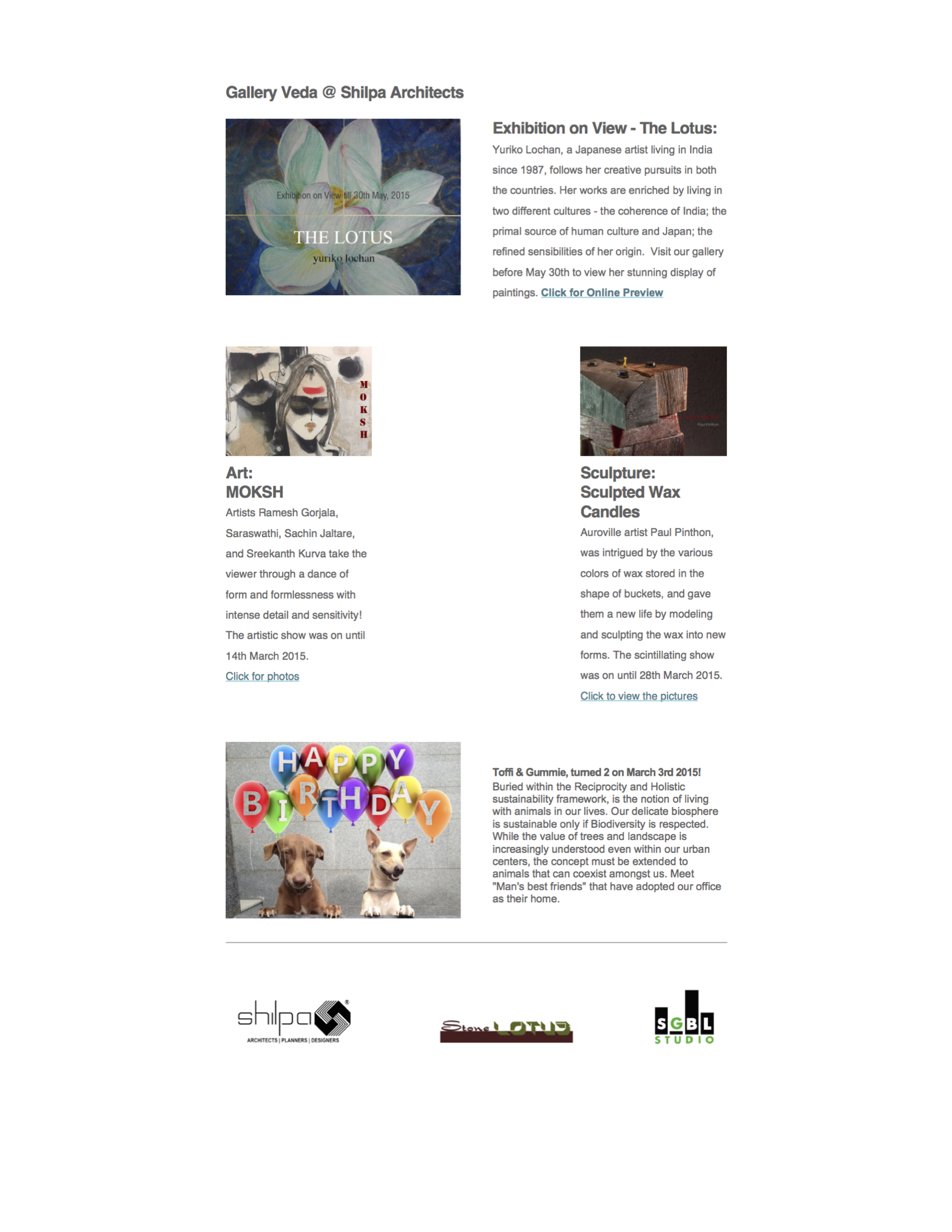 Shilpa Architects Q1 2015 Newsletter